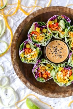Rainbow Zoodle Spring Rolls + Almond Butter Dipping Sauce | Gluten-Free, Vegan, Almost Raw | The Plant Philosophy