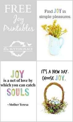 Original Joy Theme Free Printables for your craft and decor projects. Just print for instant art!
