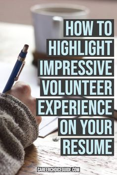 Where does volunteer work go on a resume? That depends on how important your volunteer experience is to showing you're a good fit for the job. Here's how to highlight impressive volunteer work on your resume. Resume Writing Tips, Resume Skills, Business Writing, Resume Tips, Resume Examples, Resume Ideas, Business Ideas, Resume Layout, Resume Design