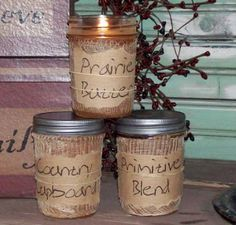Heavily Scented Primitive Jar Candles