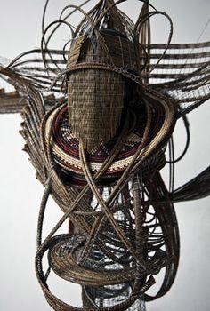 Adejoke Tugbiyele, Flight to Revelation, 2011. Palm Stems, steel wire, trivet and mannequin head, 183 x 152 x 92 cm. Photo credit Lloyd Lowe Jr