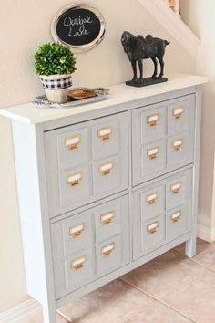 Transform this Ikea Hemnes Shoe holder into a faux library card catalog. - Cheap Ways to Make IKEA Stuff from Plain to Expensive-Looking