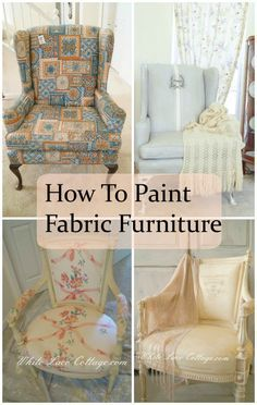 How to paint furniture fabric upholstered chairs New ideas Painting Fabric Furniture, Paint Upholstery, Art Deco Furniture, Paint Furniture, Upholstered Furniture, Fabric Painting, Furniture Makeover, Furniture Design, Chalk Paint Fabric