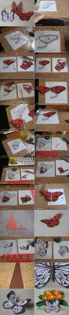 quilled butterfly tutorial - it's almost like making a stained glass image!only for quilling lovers. Quilling Instructions, Paper Quilling Tutorial, Paper Quilling Designs, Quilling Paper Craft, Quilling Patterns, Quilling Butterfly, 3d Quilling, Diy Paper, Paper Art