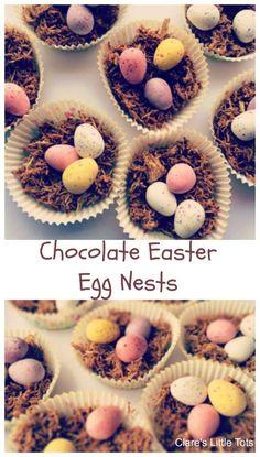 Chocolate Easter Egg Nests. Classic Easter baking idea for toddlers and preschoolers. Dulciuri De Paște, Prăjituri De Paște, Aperitive, Rețete, Mâncare, Primăvară, Idei Paște