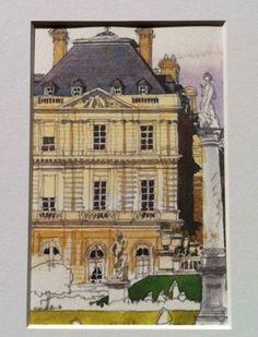 PARIS-JARDIN-LUXEMBOURG-Watercolor-Print-034-Antique-Style-034-Restoration-Hardware