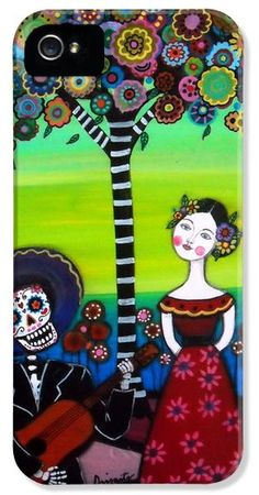 Serenata Dia de los Muertos Painting, great gift, day of the dead, skull,dia de los muertos, calavera, painting, prints, sale, prisarts, pristine,cartera,turkus,mexican,folk,art,artist,skull ,cool, sale ,florals, flowers,mariachi,love,frida kahlo, iphone case