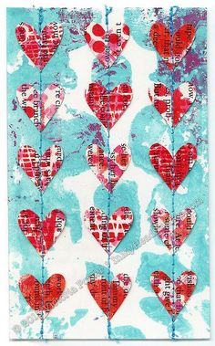 """""""Heart Garland"""" ICAD : - Index-Card-A-Day 2013 Gelli™ printed background with hand-cut paper hearts stitched to x - Mixed Media Collage, Collage Art, Shape Collage, Art Journal Pages, Art Journals, Gelli Plate Printing, Gelli Arts, Heart Garland, Index Cards"""