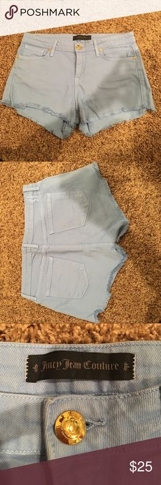 Juicy Couture Baby Blue Shorts These pretty baby blue shorts are a great find for summer. They are in great condition and have only been worn once since they are now too small for me. Juicy Couture Shorts Jean Shorts