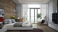 White Platform Bed Design Also Wooden Accent Wall And Modern Bedroom Chair Idea Feat Stylish Bay Window Curtain