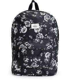 a50488a179 Obey Outsider Black Floral Backpack