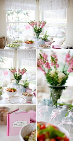 Pretty Pink and Aqua Backyard Baby Shower - I like the colors