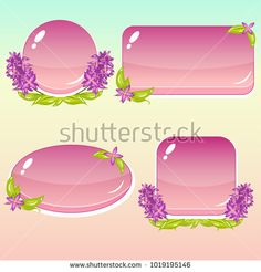 Vector cartoon buttons with flowers and leaves in violet and pink colors; game asset with isolated elements, perfect for gui or app design concepts