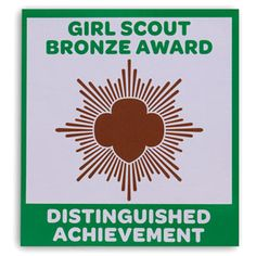 "Imprinted with ""Girl Scout Bronze Award Distinguished Achievement."" Magnetized poly vinyl. 3 3/4"" x 4 1/4"". $6.00"