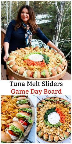 Tuna Melt Sliders Game Day Board--tuna sliders on soft yeast rolls, with lettuce, pickles, and tomatoes gamedaysliders tunasliders epiccharcuterie via Party Food Platters, Food Trays, Party Trays, Appetizer Recipes, Appetizers, Charcuterie And Cheese Board, Cheese Boards, Tuna Melts, Cooking Recipes