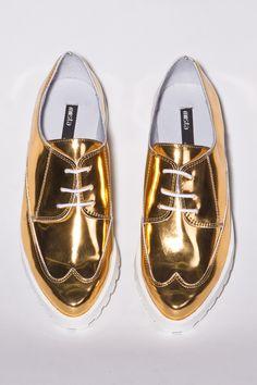 Miista Shoes Miley Brogues in Metallic Gold Leather http://thriftedandmodern.com/miista-miley-gold