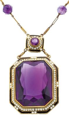 An Art Deco amethyst, seed pearl, enamel, gold Necklace, Heritage Auctions <3
