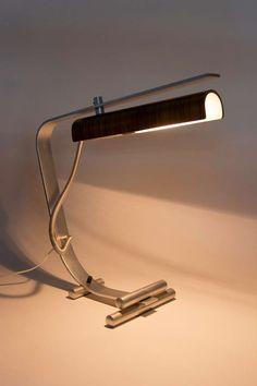 Wood and stainless steel Italian table lamp designed in Italy circa Original cord. Takes one European maximum bulb. Lamp Design, Lighting Design, Lampe Metal, Table Lamps For Sale, Italian Table, Mid Century Lighting, Antique Lighting, Lamp Light, Desk Lamp