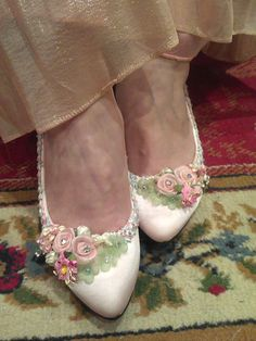 Awww... sweet shoes, also in very low heels! But... I can make these myself for way less! Cinderella crystal garden babypink bridal by CINDERELLAWORKSHOP, $138.00