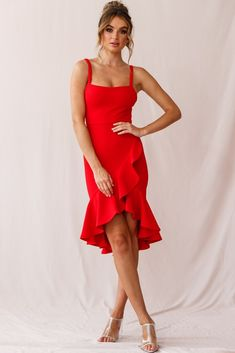 Order the Cartagena High-Low Asymmetric Salsa Dress Red only at Selfie Leslie! Dance Outfits, Dance Dresses, Prom Dresses, Summer Dresses, Salsa Outfit, Salsa Dress, Belted Shirt Dress, Tee Dress, Dress Red