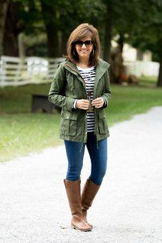 Fall Fashion-Military Jacket with Stripe Tee