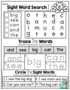 SIGHT WORDS! Find the sight words, trace the sight words and circle the sight words in a simple sentences! TONS of great printables!