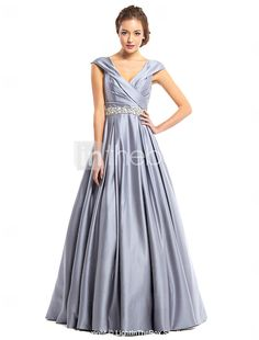 TS Couture® Prom  Formal Evening Dress A-line V-neck Floor-length Satin with Beading / Criss Cross 2017 - $125.99