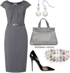 """Grey colour with simple style make the #business #dress the proper one. """"059"""" by tatiana-vieira on Polyvore"""