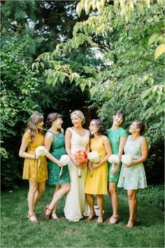 Mint maize mustard color palette bridesmaid dresses / http://www.himisspuff.com/mint-and-yellow-wedding-ideas/2/
