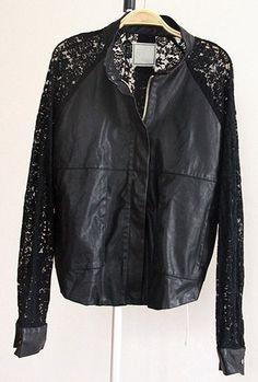 Black Long Lace Sleeve Zipper PU Leather Coat
