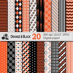 Orange Black Digital Paper Set Geometric by VRDigitalDesign