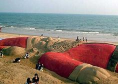 Sand Santa Sculpture