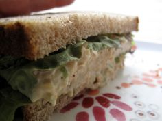 """Chickpea of the Sea"" sandwich--like tuna salad, but with healthy chickpeas and low-fat mayo instead!"