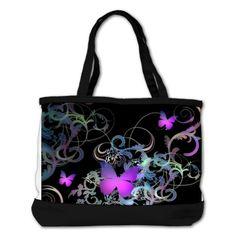 SOLD Bright #Purple #Butterflies Beach #Bag $80