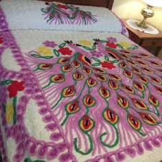 Vintage Chenille Bedspread Double Peacocks Purple by AStringorTwo