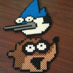 Mordecai and Rigby Regular Show perler beads by twinsistercraft