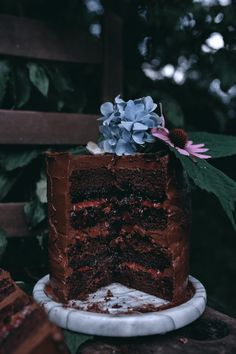 Chocolate Cake with Plum Basil Jam and Chocolate Swiss Meringue Buttercream. Delicious, moist, and chocolaty; with fresh, plum basil jam between each layer.