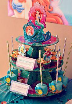 The Little Mermaid Birthday Party Dessert Stand - love the dipped marshmallows Little Mermaid Birthday, Little Mermaid Parties, The Little Mermaid, Birthday Party Desserts, 3rd Birthday Parties, Girl Birthday, Birthday Ideas, Merian, Festa Party