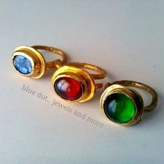 Anastasia Iordanaki Handmade roman style rings with red, blue and green stones..goldplated...adjustable  By blue dot..jewels and more