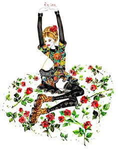 Roses, outfit inspired by Alice + Olivia Fall 2013 RTW FashionIllustrationbySunnyGu