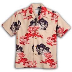 Cowichan Family | Rakuten Global Market: Aloha macanarai (MAKANA LEI) | AMT-073N lion and Peony | ivory | mens | Oriental silk | thick fabric | short-sleeved | Aloha (Aloha shirt sales)