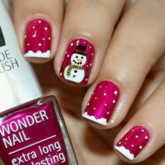 Red nails with a snowman fancy nails, classy nails, trendy nails, christmas Holiday Nail Art, Christmas Nail Art Designs, Winter Nail Art, Diy Christmas Nails Easy, Xmas Nail Art, Christmas Decorations, Holiday Mood, Snowflake Designs, Christmas Design