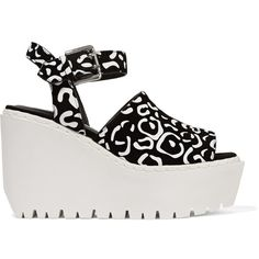 Opening Ceremony - Luna Printed Coated-suede Wedge Sandals (265 ILS) ❤ liked on Polyvore featuring shoes, sandals, black, black suede shoes, strap wedge sandals, strappy sandals, black strappy shoes and suede wedge sandals