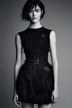 Balenciaga by Nicolas Ghesquière by Patrick Demarchelier -- intricate sleeveless black dress #style #fashion