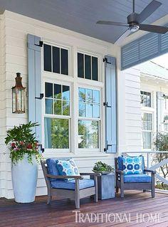 Vacation Home Trends – Loretta J. Willis, Designer Home Trends vacation home trends Exterior Paint Colors For House, Paint Colors For Home, House Colors, Paint Colours, Exterior Colors, Modern Shutters, Blue Shutters, Window Shutters, Cottage Shutters