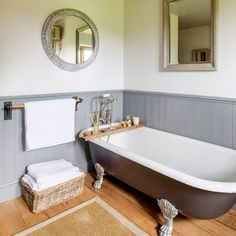 "Country bathroom with grey roll-top bath and dado panelling Looking for country bathroom ideas? Take a look at this grey scheme complete with roll-top bath""}, ""http_status"": window. Steam Showers Bathroom, Bathtub Shower, Shower Rooms, Rustic Bathrooms, Grey Bathrooms, Small Country Bathrooms, Family Bathroom, Small Bathroom, Garage Bathroom"
