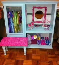 Turn entertainment center into dress up wardrobe! From Mommy Made on FB
