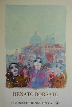 Renato Borsato - Original Venice Carnival Poster 1988 – Art & Vintage Store Ltd Art Vintage, Original Vintage, Vintage Posters, Chicago Poster, Paris Poster, Carnival Posters, Museum Poster, Creative Poster Design, Poster Design Inspiration