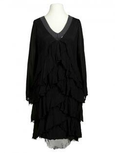 Damen Seidenkleid Volant, schwarz von Diana bei www.meinkleidchen.de