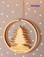 Malá vianočná ozdoba z drevenej preglejky.  Viac tu: http://www.progra.sk/products/vianocna-ozdoba-stromcek-v-guli-drevena/